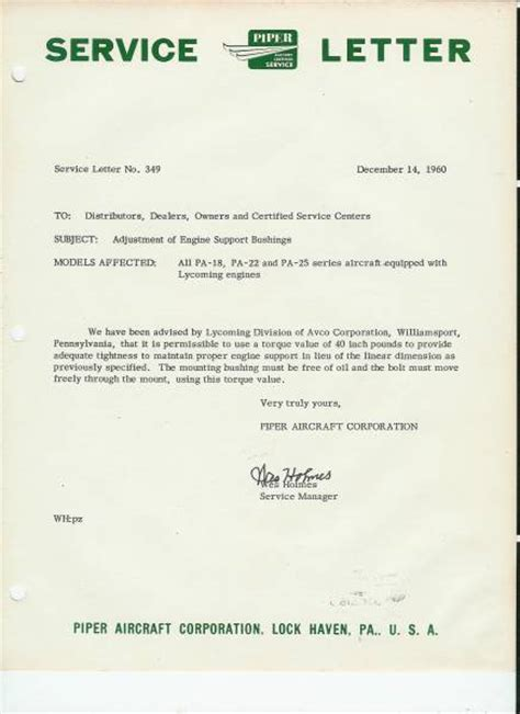 Service Letter Caterpillar Piper Service Letter 349 Supercub Org Photo Galleries
