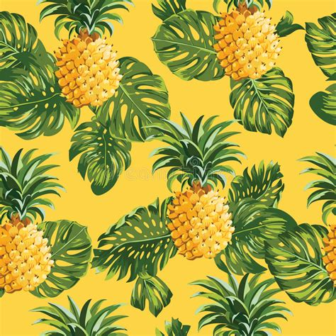 Pinapples And Tropical Leaves Background Stock Vector