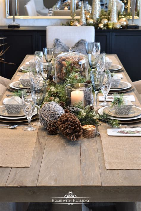 simple woodland  pine cone christmas table setting
