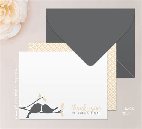 thank you for letter birds notecard or thank you card mallory design 1642