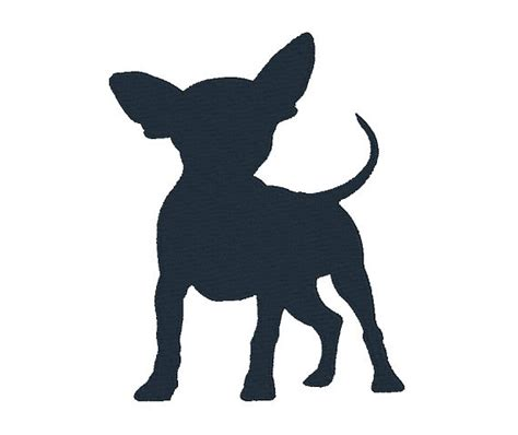 chihuahua silhouette machine embroidery design dog design