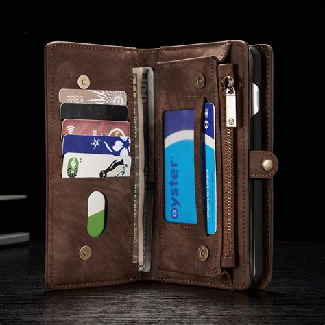 multi slot retro split leather wallet zipper holder cover case  iphone   alexnldcom
