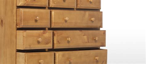 essentials pine 9 drawer chest of drawers quercus living