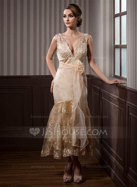a linie v ausschnitt wadenlang spitze brautjungfernkleid mit scharpe band blumen p410 trompete meerjungfrau linie v ausschnitt wadenlang satin