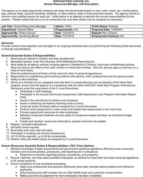 Download Human Resources Job Description Template For Free Page 4 Formtemplate One Page Description Template