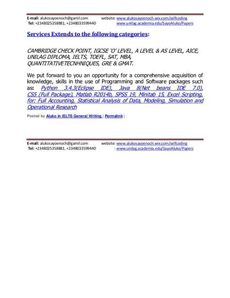 Unilag Mba Website by Ielts General Writing Upload