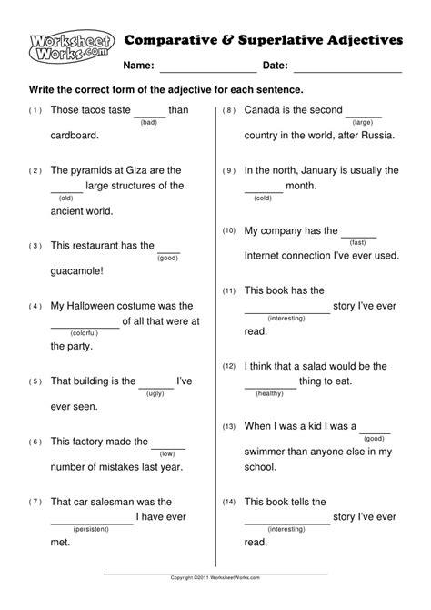 worksheet works answers worksheet works comparative and superlative adjectives 1
