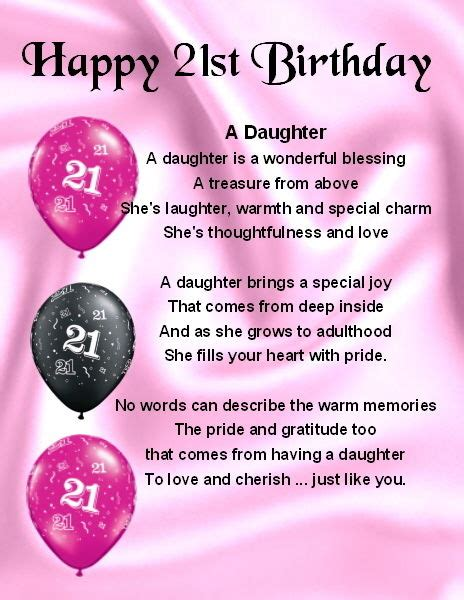 21st Birthday Quotes For My Fridge Magnet Personalised Daughter Poem 21st