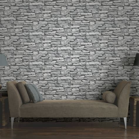 Living Room With Brick Effect Wallpaper Arthouse Vip Moroccan Wall Brick Photographic