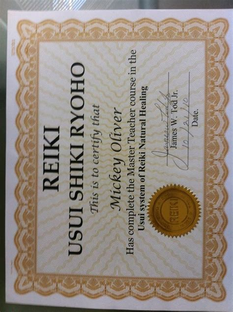 reiki master certificate reiki master reiki