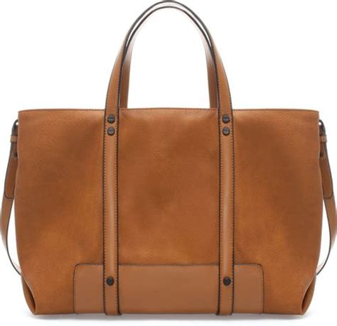 Bag Tote Zara Basic Bz 8011 zara basic shopper bag in brown leather lyst