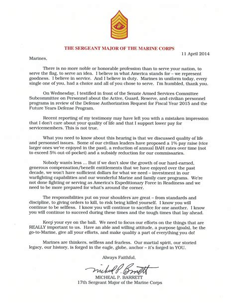 letter of appreciation exles usmc sgtmajor of the marine corps issues statement to marines