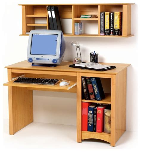 Maple Computer Desk With Hutch by Prepac Small Wood Computer Desk In Maple Modern Desks
