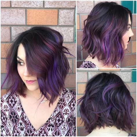 asian magenta highlight magenta medium length hair women s black wavy textured bob
