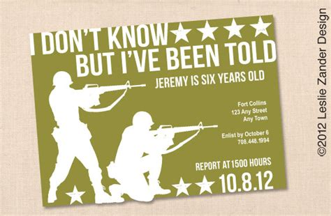 free printable birthday invitations army military army personalized printable birthday party invitation