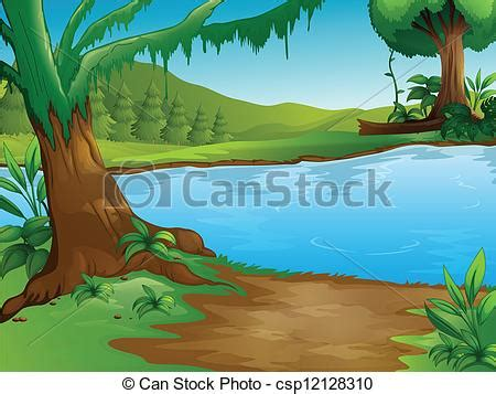 vector clip art of a river illustration of a river in a