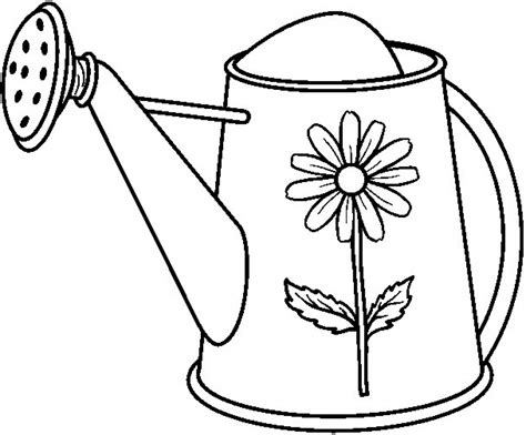 Watering Can Colouring Clipart Best Coloring Pages 6 490x521