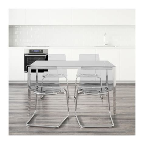 Torsby Tobias Table And 4 Chairs Glass White Transparent Ikea Glass Dining Table And Chairs