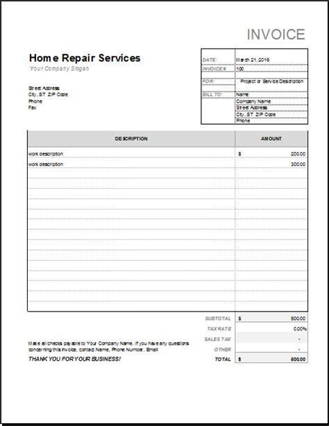 mechanic receipt template home repair invoice template free robinhobbs info