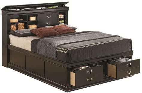 bed with storage in headboard louis philippe king bed with storage in headboard and footboard
