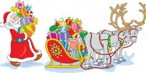 imagenes de santa claus en su trineo para colorear santa claus cargando con la navidad presenta su trineo con