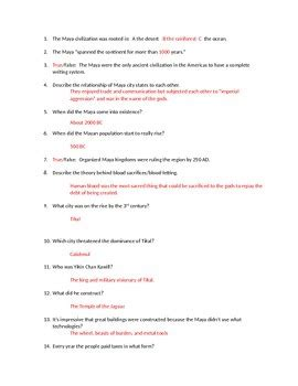 Mba Sle Questions With Answers by Civilization Documentary Questions And Answers Tpt