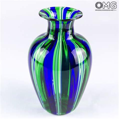 vasi di murano vaso con canne verdi in vetro di murano originale soffiato