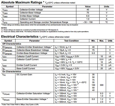 datasheet of transistor 2n2222 datasheet 2n2222 pdf