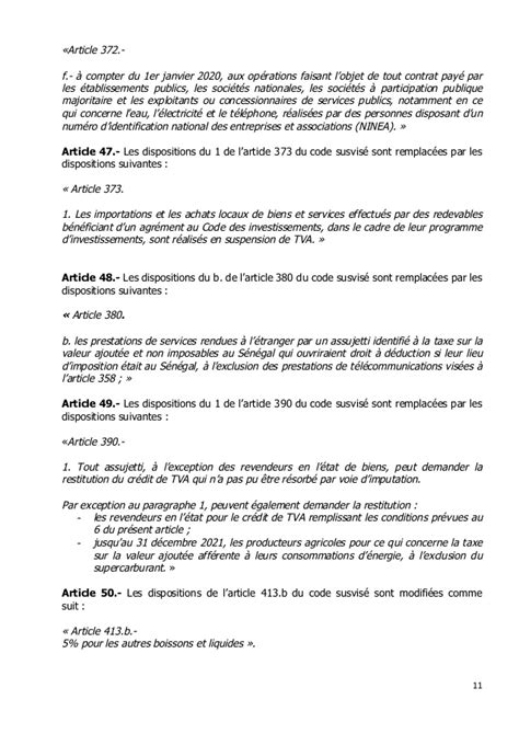 LOI MODIFIANT LE CODE GENERAL DES IMPOTS DU SENEGAL MARS 2018