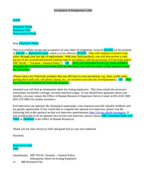 Acceptance Of Resignation Letter Without Notice Period sle resignation letter template edit fill sign