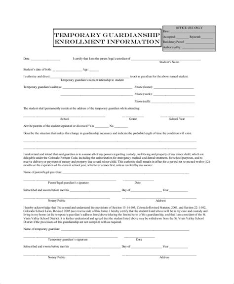 guardianship form 10 sle temporary guardianship forms sle templates