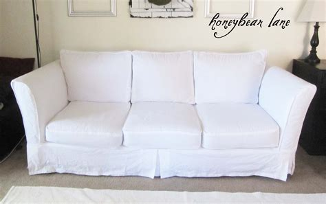 how to slipcover a sofa how to make a slipcover part 2 slipcover reveal honeybear