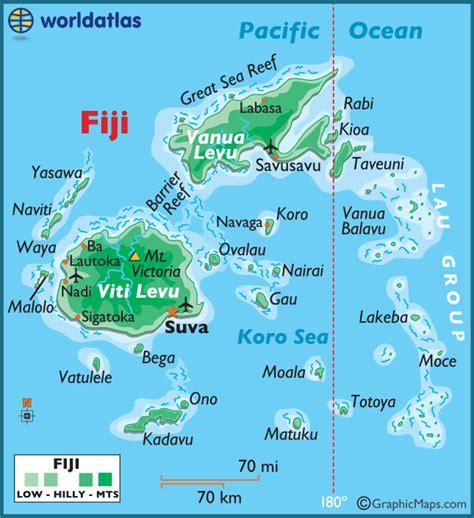 map world fiji fiji large color map