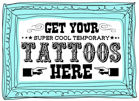 tattoo booth online carnival party printable freebies and sneak peaks