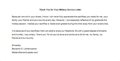 Service Member Thank You Letter Thank You For Your Service Letter 9 Free Word Excel Pdf Format Free Premium