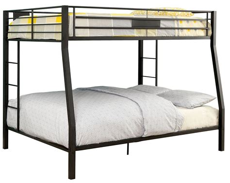 bunk bed full over queen claren black full over queen bunk bed cm bk939fq