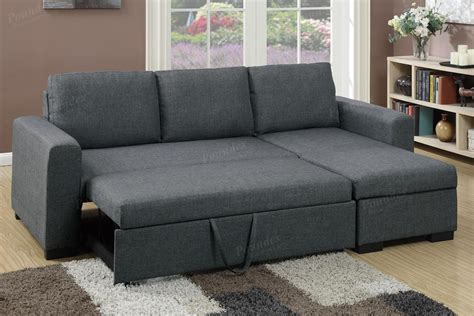 Sectionals With Sofa Beds Poundex Samo F6931 Grey Fabric Sectional Sofa Bed A Sofa Furniture Outlet Los Angeles Ca