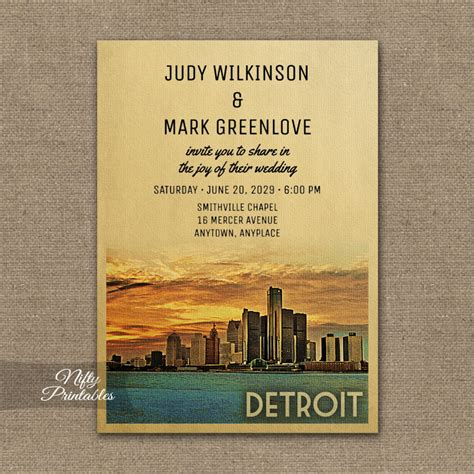 wedding invitations michigan detroit michigan wedding invitation printed nifty printables
