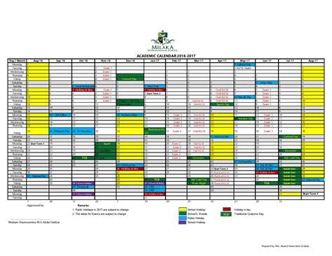 Cca Academic Calendar Cca Melaka International School