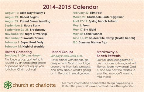 Calendar Events 2015 United 2014 2015 Events Church At