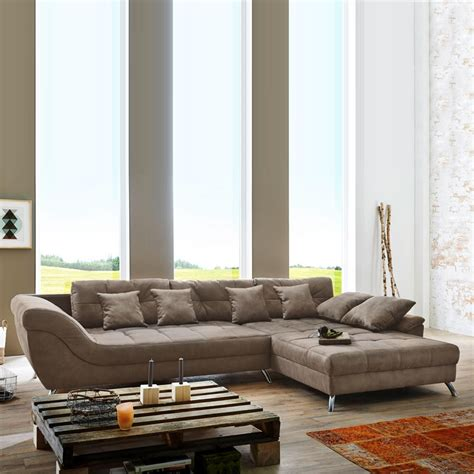 ecksofa grau weiß wohnzimmer sofa dunkelbraun wohnlandschaft santa