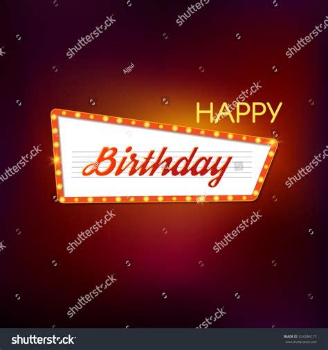 happy birthday retro design happy birthday retro light sign vector stock vector
