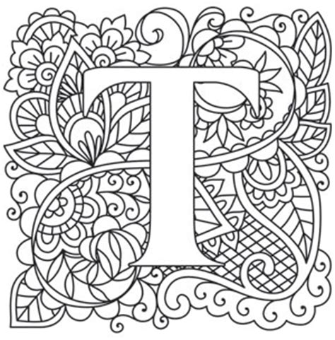 coloring pages for adults letter t adult letter t coloring pages