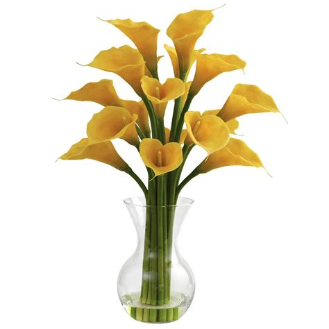 Artificial Lilies In Vase by Yellow Galla Calla Silk Flower Arrangement With Vase