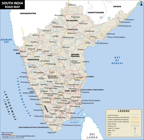 printable road map of india south india road map road map of south india