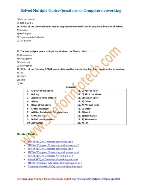 tutorial questions on computer networks computer networking multiple choice questions