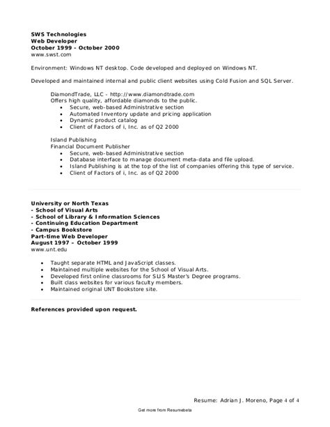 sle resume for experienced net developer application developer resume fiveoutsiders