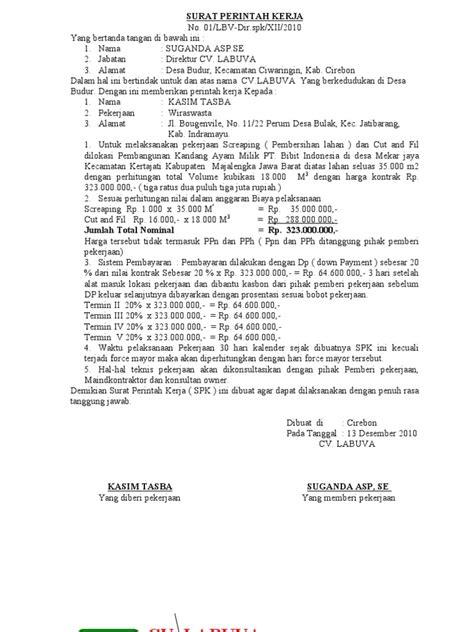 Contoh Surat Spk by Surat Perintah Kerja Spkb
