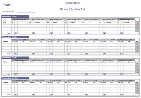 nursing scheduling spreadsheet schedules templates