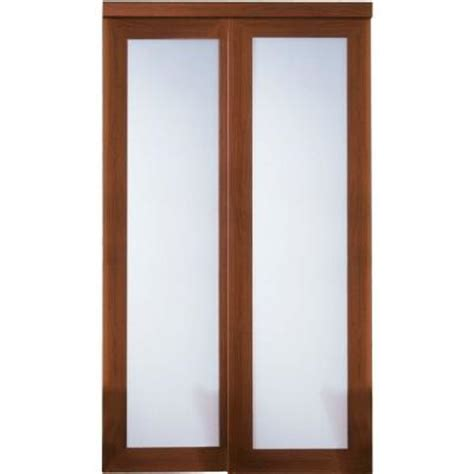 Glass Closet Doors Home Depot Truporte Grand 72 In X 80 In 2000 Series Composite Cherry 1 Lite Tempered Frosted Glass